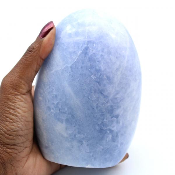 Polerad blå kalcit från Madagaskar